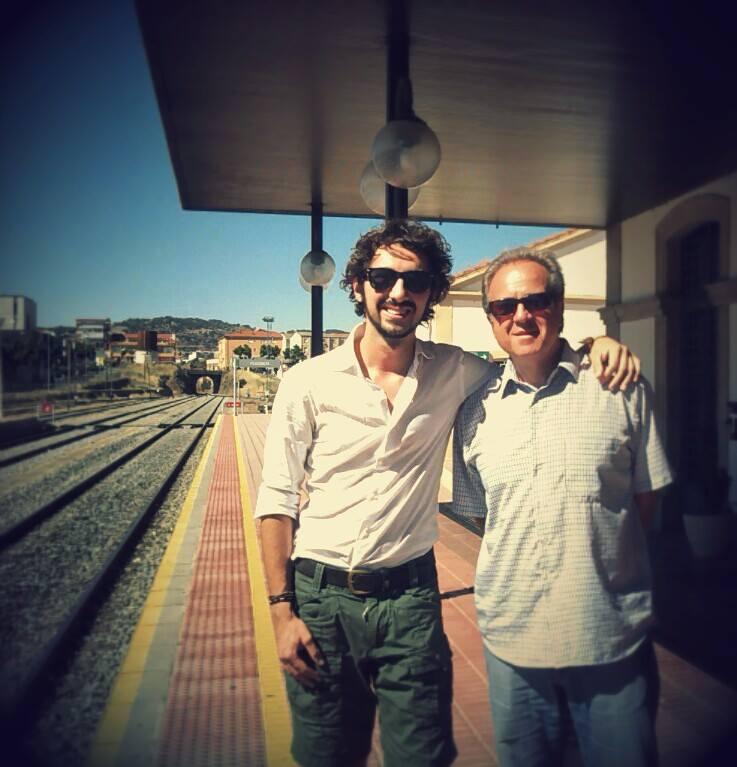 Con Giovanni Scarabello en la estación de tren de Plasencia