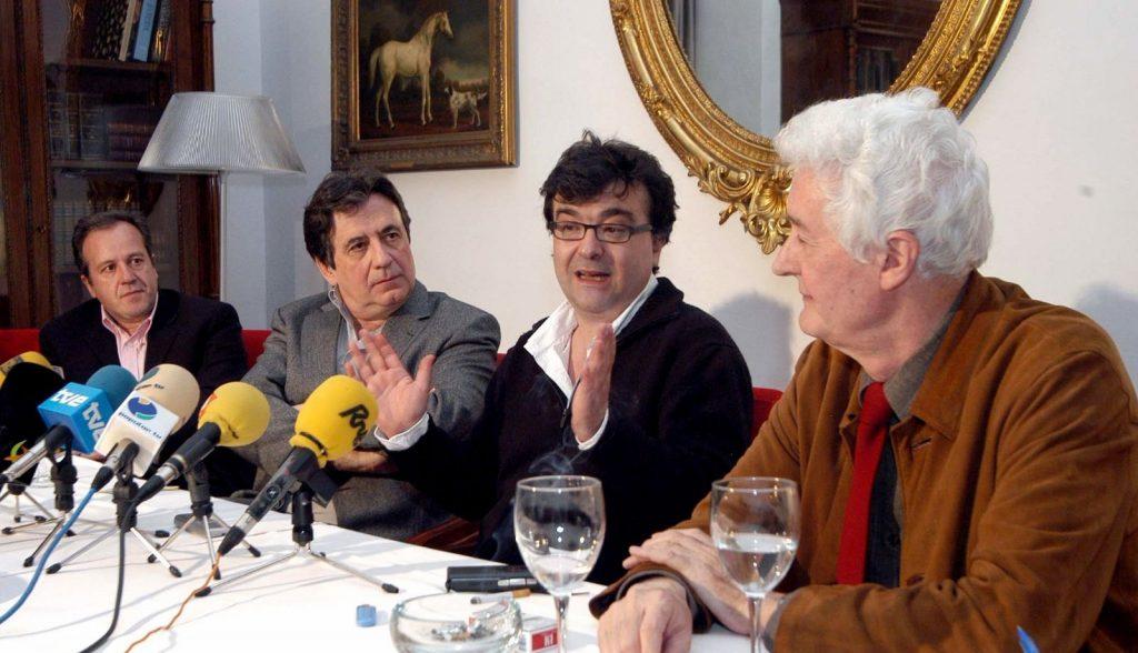 Con Landero, Cercas y Grande.