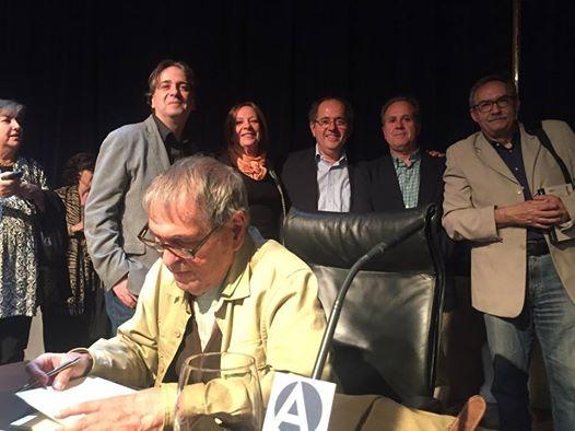 Con Rafael Cadenas en Casa América (Jordi Doce, Marina Gasparini, Antonio López Ortega y Manuel Rico)
