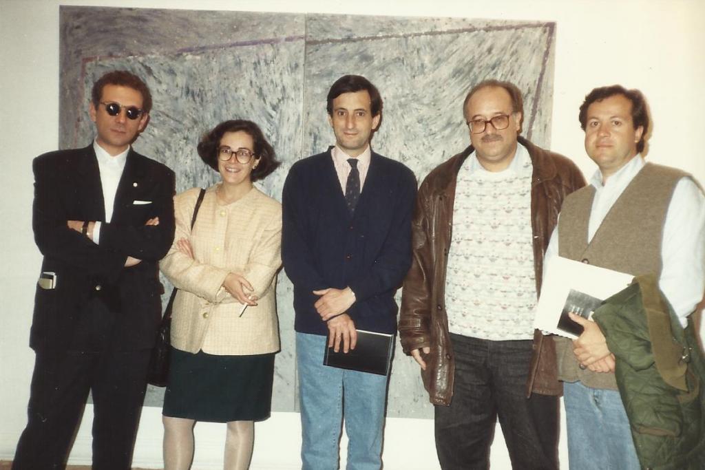 En la Menéndez Pelayo. Con J. C. Mestre, A. Bautista, M. Mesanza y L. J. Moreno. Cuenca, 1993